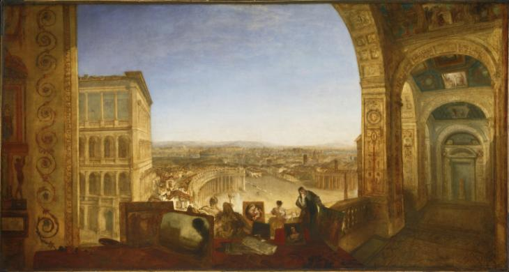 Rome, from the Vatican. Raffaelle, Accompanied by La Fornarina, Preparing his Pictures for the Decoration of the Loggia exhibited 1820 Joseph Mallord William Turner 1775-1851 Accepted by the nation as part of the Turner Bequest 1856 http://www.tate.org.uk/art/work/N00503