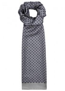 Eton grey silk twill scarf
