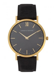 larsson jennings läder gold plated watch