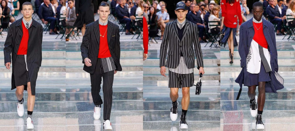 28c1a4f14d Versace played this season with trademark stripes at Milan Fashion Week  2017
