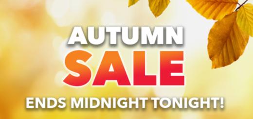 hurry! autumn sale ends midnight tonight