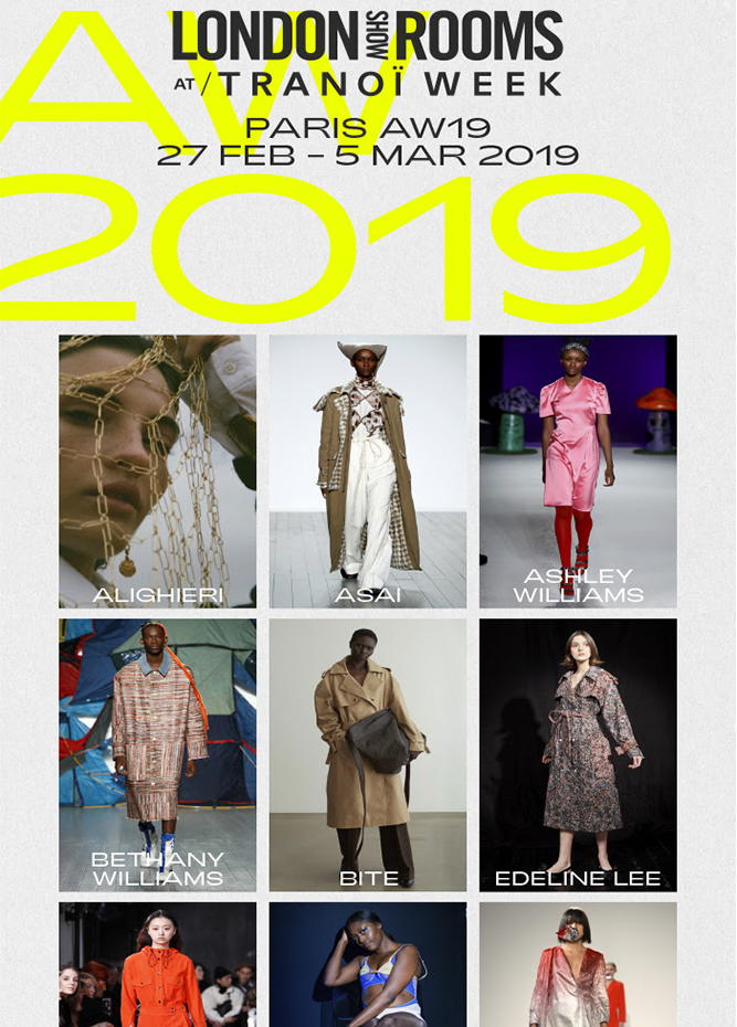 British Fashion Council - LONDON show ROOMS Paris AW19 - Wednesday 27th February – Tuesday 5th March 2019