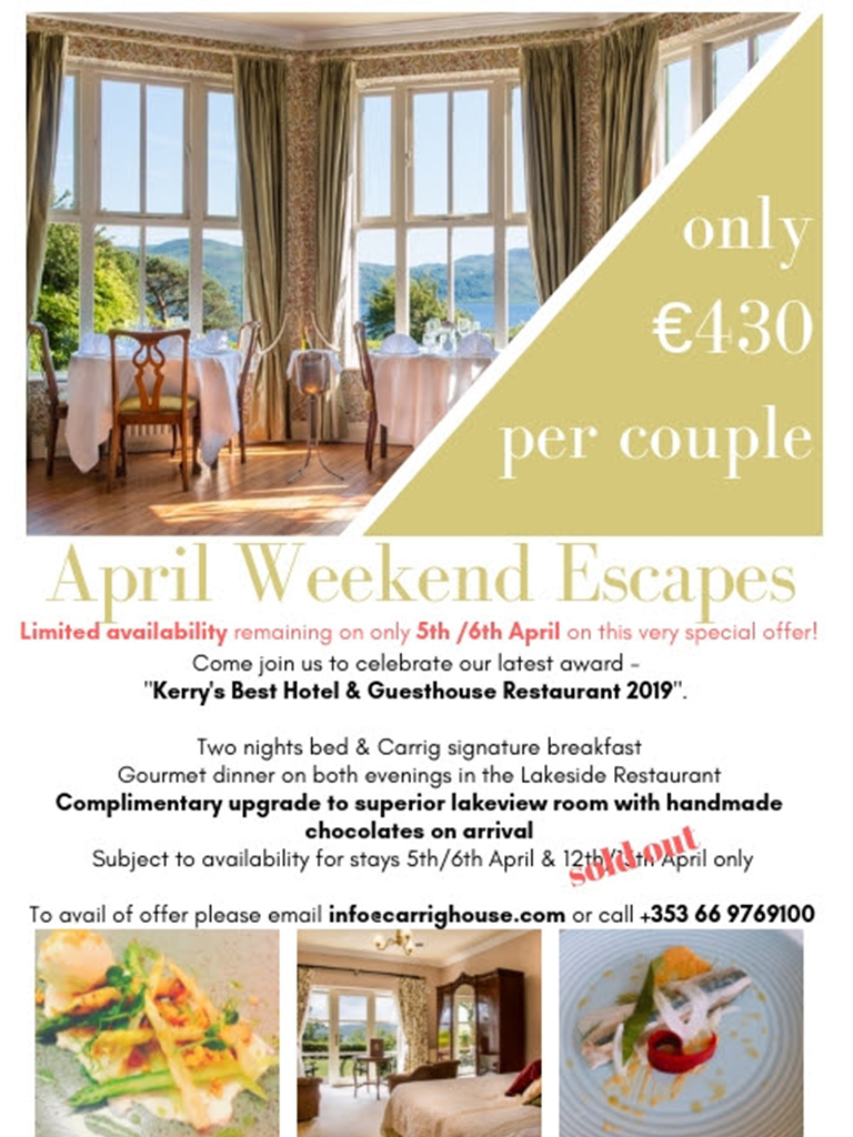 Carrig Country House & Lakeside Restaurant - April Weekend Escapes At Carrig