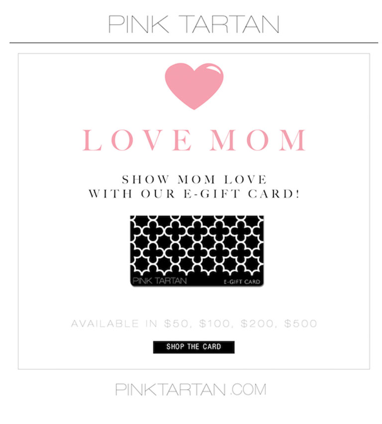 PINK TARTAN - LOVE MOM Gift Card - Don't Forget Mom