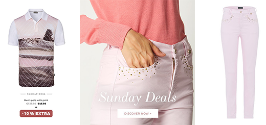 GOLFINO News - Sunday Deals: Extra 10 % off selected golf outfits
