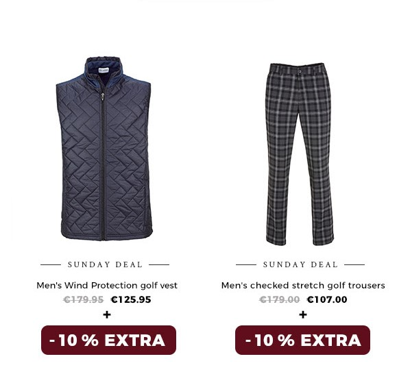 GOLFINO News- Sunday deals: Extra - 10 % on selected Autumn Styles