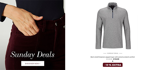 golfino news- sunday deals: extra – 10 % on selected autumn styles