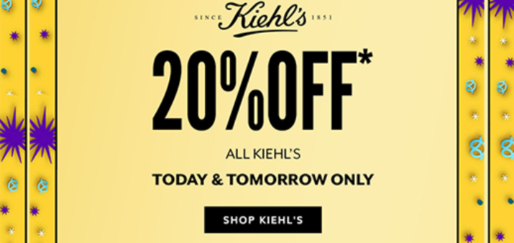Arnotts - 20% off all Kiehl's, right now