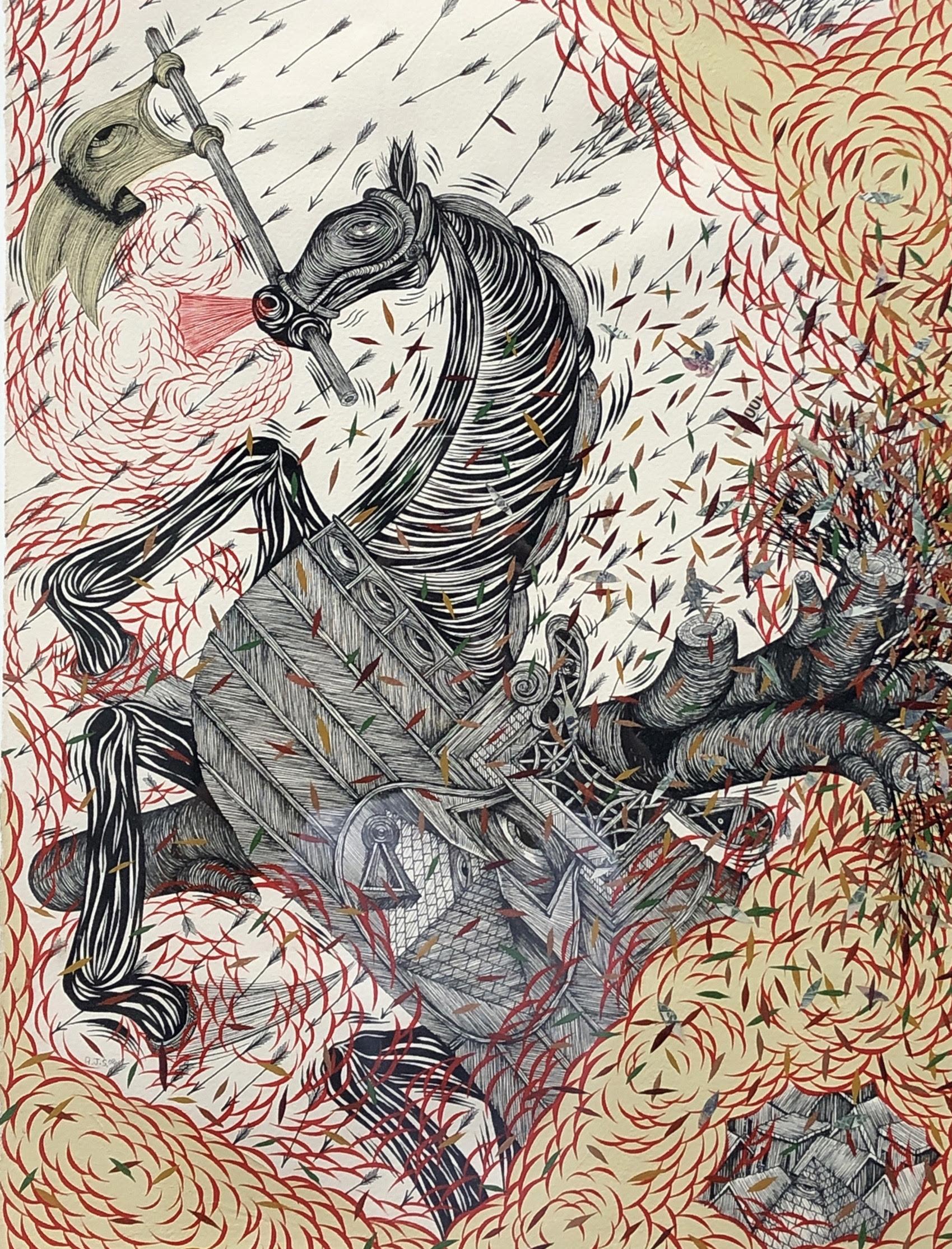 Andrew Schoultz Horse Under Fire, 2006