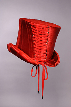 corset hat in deep red satin and lace