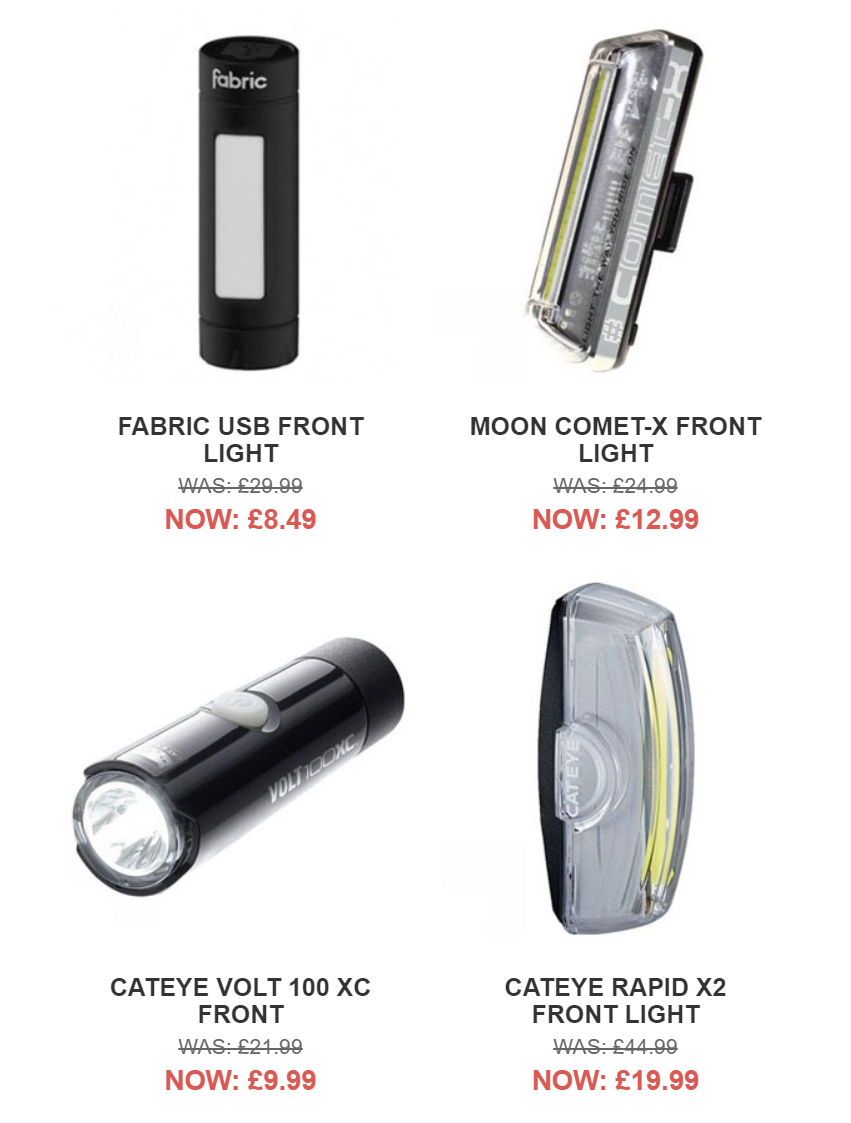 Cycle Surgery - Look ahead: Up to 70% off lights
