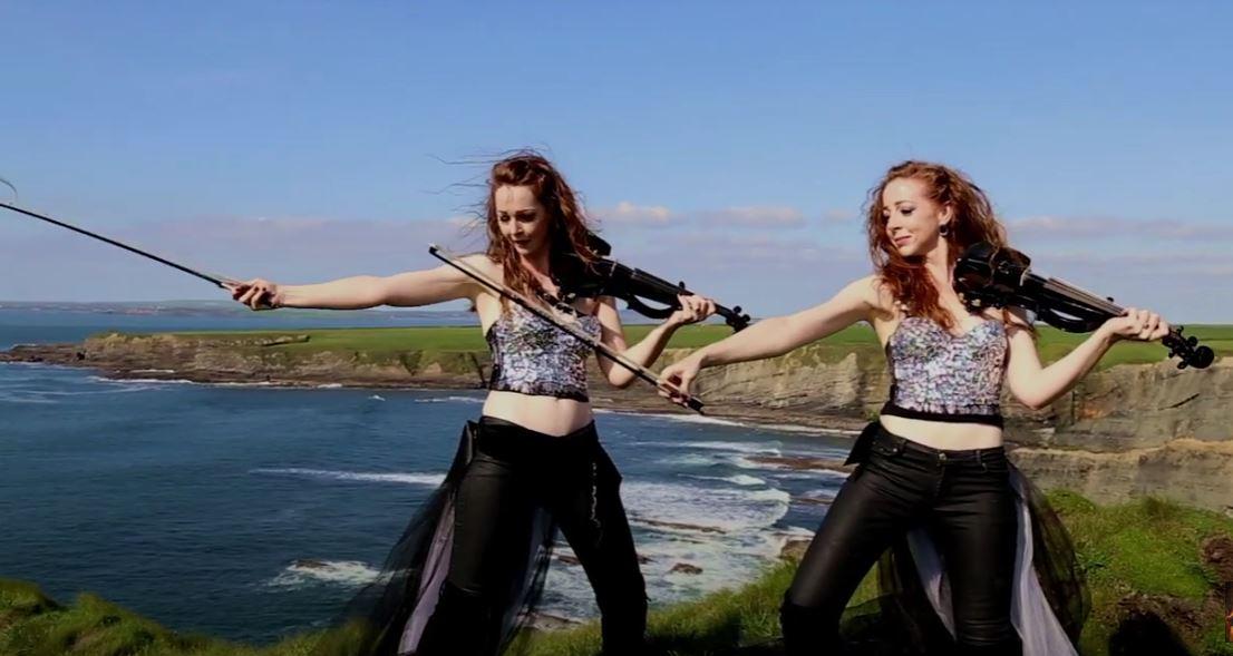 Sephira sisters on mountaintop gift Irish, 12-30 Jacqui Quinn costume.JPG