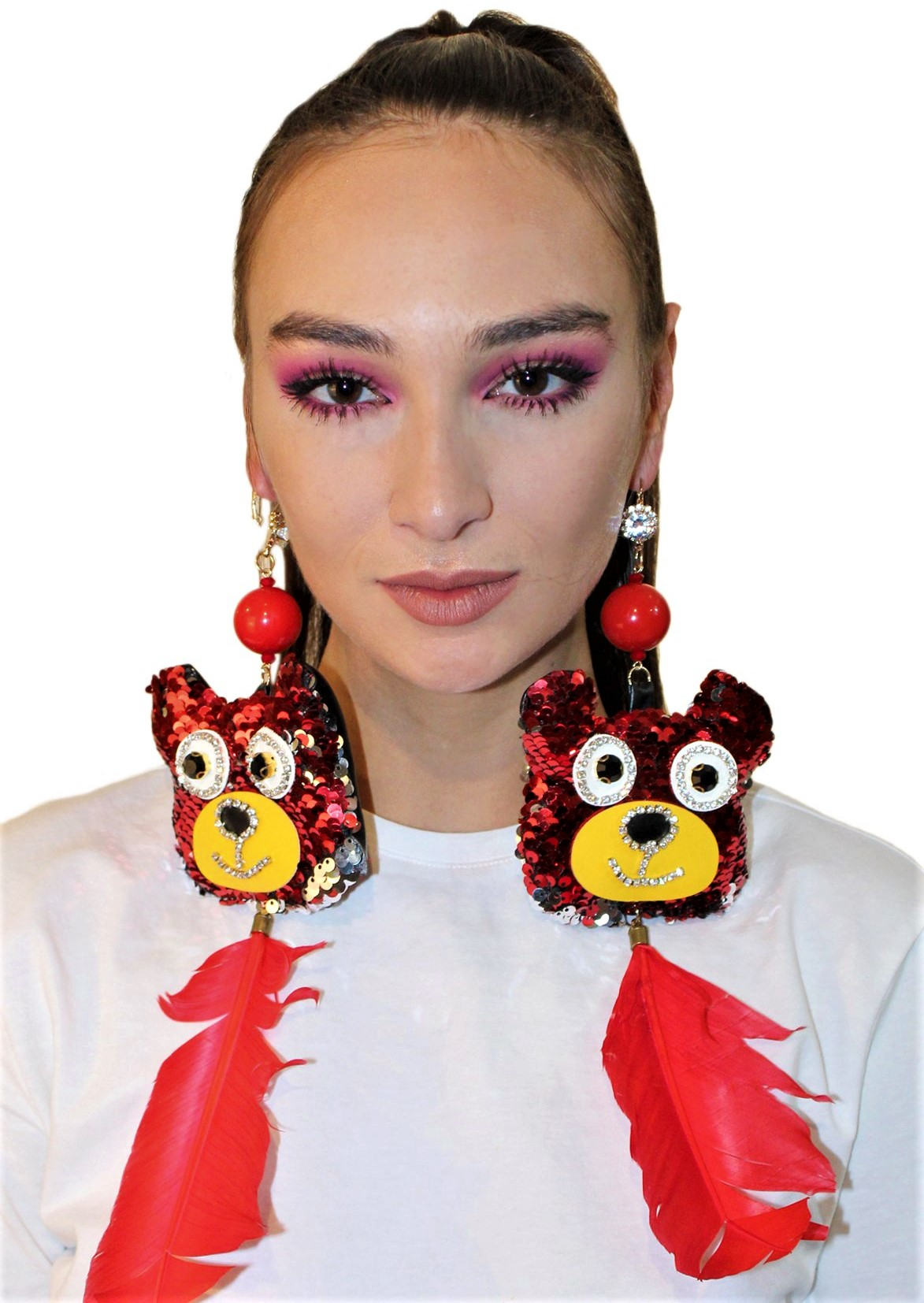 sequin bear earrings Patricia Field Val day cropped.jpg