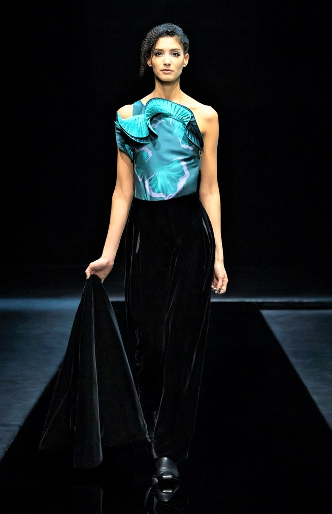 Milan 3 womens gown blue floral top full skirt Armani cropped.jpg