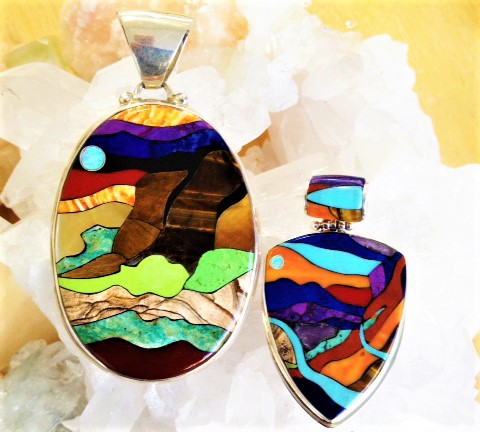 Tucson Show Absolute Jewelry inlaid mosaic pendants cropped.jpg
