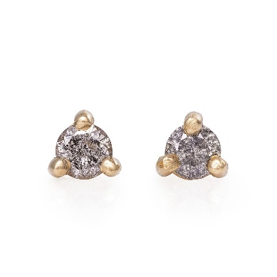 Image of Solid Gold Hope And Magic Tiny Stud Earrings Grey Diamond