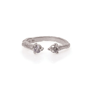 Image of Solid White Gold Hope And Magic Ring Grey Diamond